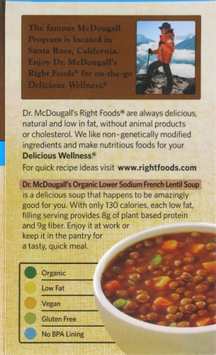 Dr. Mcdougall's Organic Lower Sodium French Lentil Soup Perspective: back