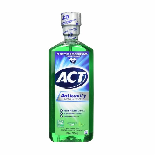 ACT Alcohol Free Anticavity Fluoride Rinse, Mint - 18 oz - 2 pk Perspective: back