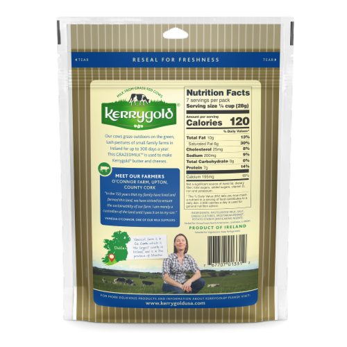 Kerrygold Shredded Savory Cheddar Cheese Perspective: back