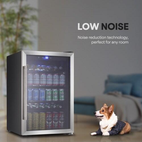 Beverage refrigerator or Wine Cooler with Glass Door 120 Can Mini Fridge freestanding Perspective: back
