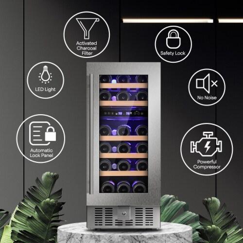 Kumo 15'' Wine Cooler 28 Bottle Built-in or Freestanding Beverage Refrigerator Perspective: back