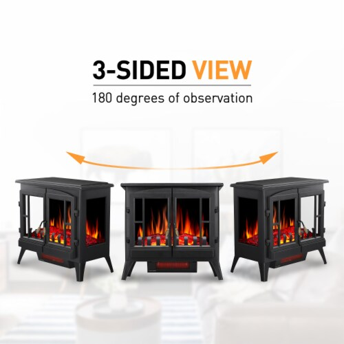 "Electric Fireplace Heater Freestanding Infrared Stove Heater 3D Flame Portable 24"" Perspective: back"