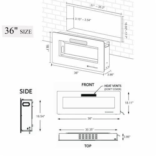 "42"" Electric Fireplace Recessed 3.86"" Ultra Thin Insert Wall Mounted and In Wall Perspective: back"