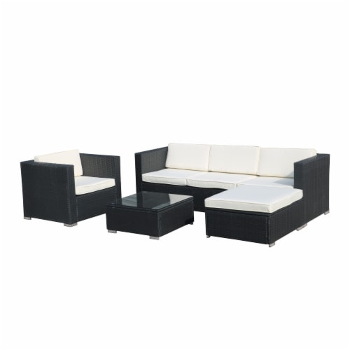 Kumo Outdoor Sectional 4-Piece Patio Furniture Wicker Furniture Sofa Couch Set Perspective: back