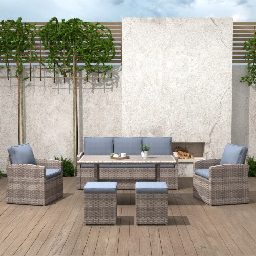 Kumo Outdoor Dining Table Set Patio Conversation Furniture Light Brown Wicker Grey Cushion Perspective: back