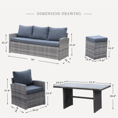 Kumo Outdoor Dining Table Set Patio Conversation Furniture Grey Wicker Grey Cushion Perspective: back