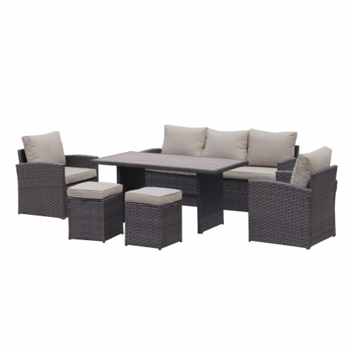 Kumo Outdoor Dining Table Set Patio Conversation Furniture Dark Gold Wicker Sandy Cushions Perspective: back