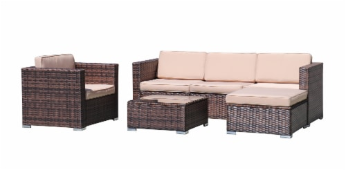 Kumo Outdoor Sectional 4-Piece Patio Furniture All Weather Wicker Furniture Sofa Couch Set Perspective: back