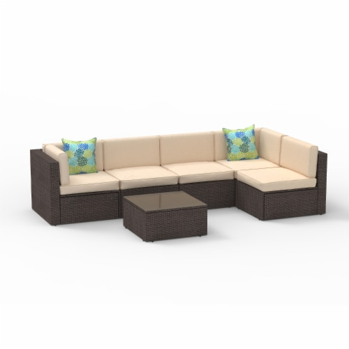 Kumo 6 Piece Patio Furniture Sectional Wicker Outdoor Sofa with Glass Coffee Table Perspective: back