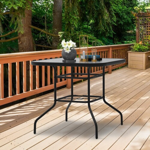 """Kumo 32"""" x 32"""" Outdoor Dining Table Tempered Glass Table Patio Umbrella Stand Perspective: back"""