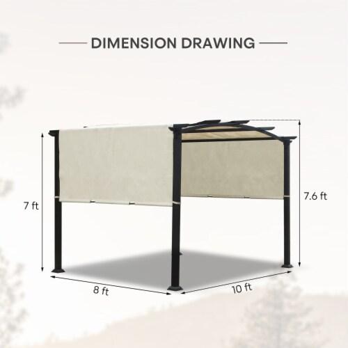 Kumo 10'x8' Pergola Gazebo Canopy Outdoor Patio Garden Steel Frame Sun Shelter Perspective: back