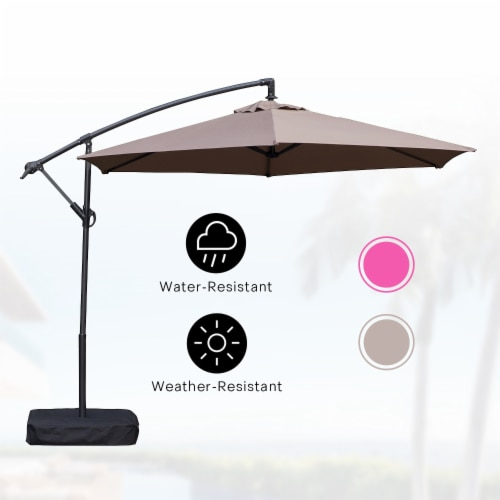 Kumo 10 Ft Patio Umbrella Outdoor with Base Offset Umbrella for Garden, TAUPE Perspective: back