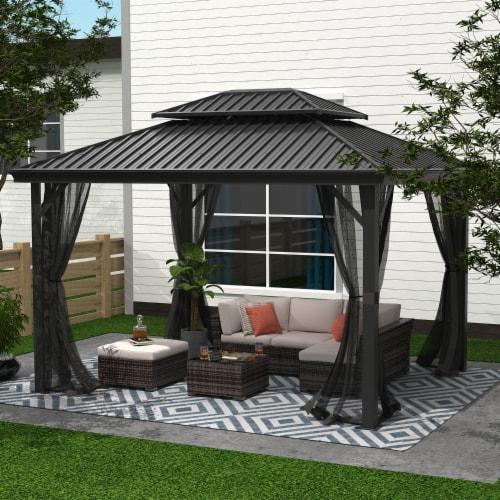 Kumo 10ft x 12ft Hardtop Gazebo Outdoor Metal Canopy Gazebo with Netting Perspective: back