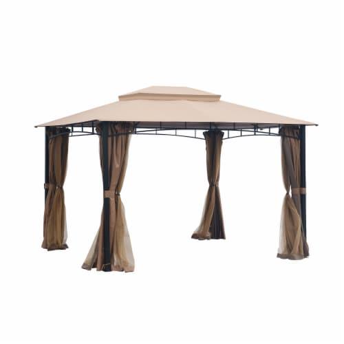 Kumo Patio Gazebo with Mosquito Netting Outdoor Gazbeo Canopy 10x12, Sand Perspective: back