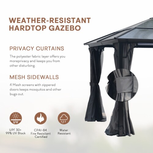 Kumo 10x10 Hardtop Gazebo Aluminum Frame and Polycarbonate Hardtop with Netting and Curtains Perspective: back