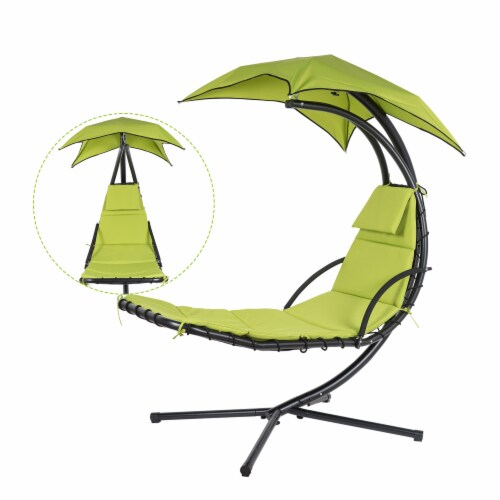 Kumo Hanging Chaise Lounge Chair Canopy Floating Chaise Lounger Swing Hammock Chair Perspective: back