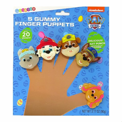 Paw Patrol Gummy Finger Puppet Candy and Collectible Stickers Perspective: back