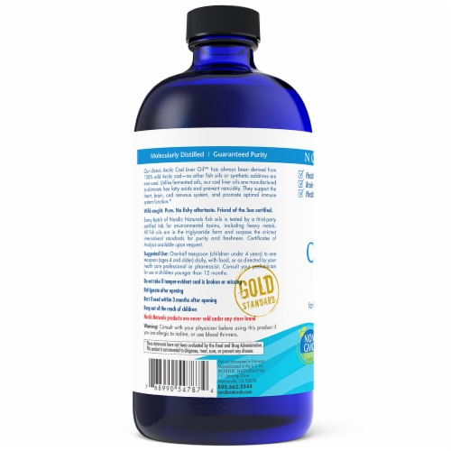 Nordic Naturals Arctic Orange Flavor Cod Liver Oil Perspective: back