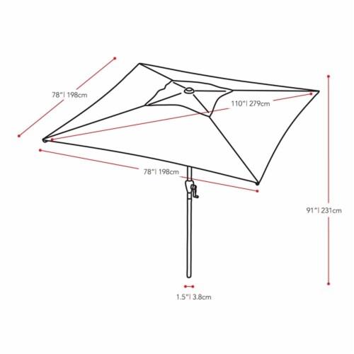 CorLiving  Square Tilting Crimson Red Fabric Patio Umbrella Perspective: back