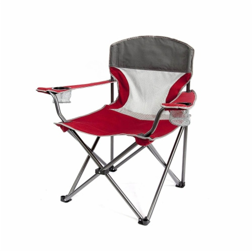 Mac Sports Heavy Duty Big Comfort Quad XL Folding Outdoor Camping Chair, Red Perspective: back