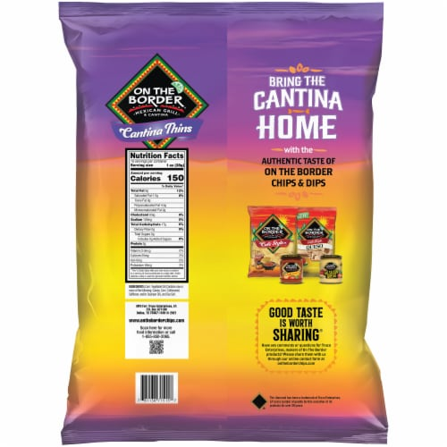 On The Border Cantina Thin Tortilla Chips Perspective: back