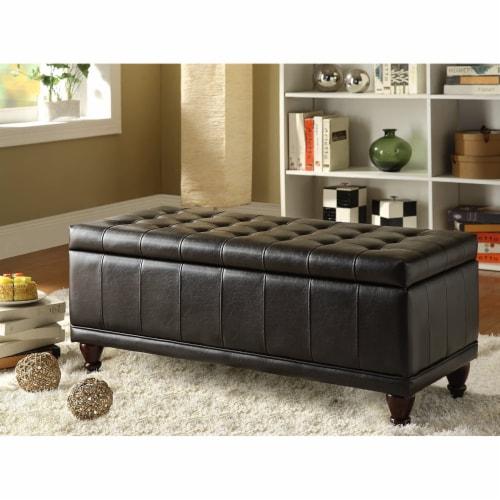 Saltoro Sherpi Bi-Cast Vinyl Lift-Up Storage Bench With a Tufted Seat, Dark Brown Perspective: back