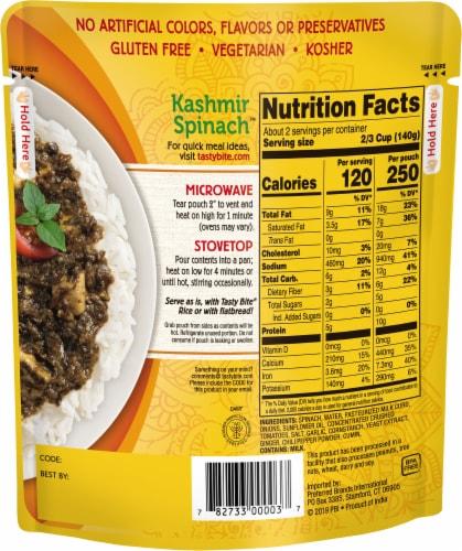 Tasty Bite Kashmir Spinach Perspective: back
