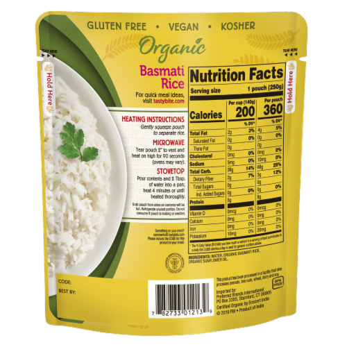 Tasty Bite Organic Basmati Rice Perspective: back