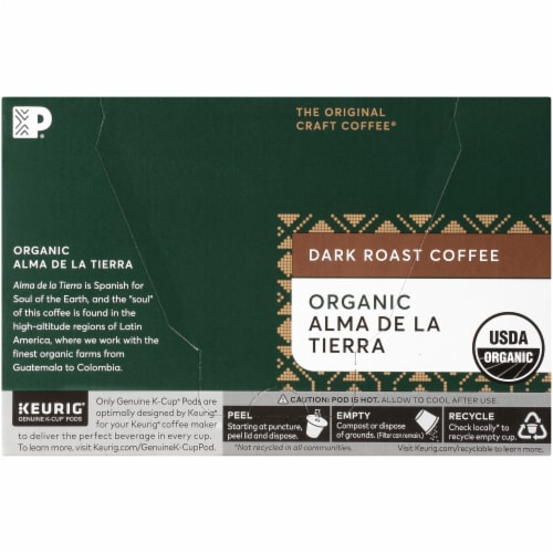 Peet's Coffee Organic Alma De La Tierra Dark Roast Coffee K-Cup Pods Perspective: back