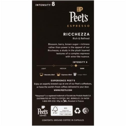 Peet's Coffee Ricchezza Arabica Espresso Coffee Aluminum Capsules Perspective: back