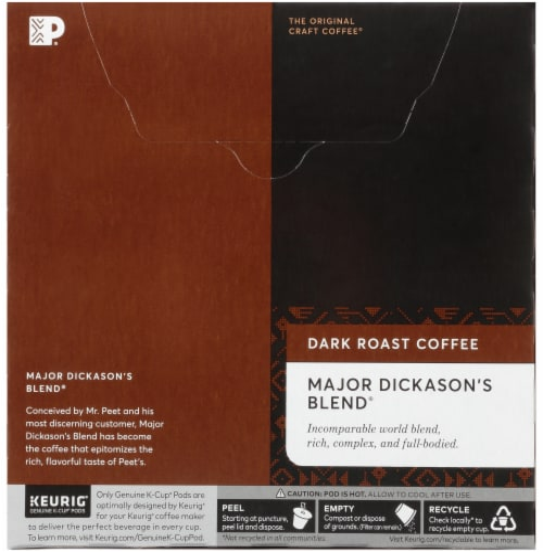 Peet's Coffee Major Dickason's Blend Dark Roast Coffee K-Cup Pods Perspective: back