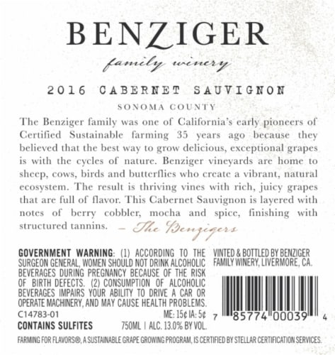 Benziger Cabernet Sauvignon Red Wine Perspective: back