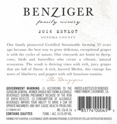 Benziger Merlot Red Wine Perspective: back