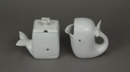 Adorable White Ceramic Whale Sugar and Creamer Set Perspective: back