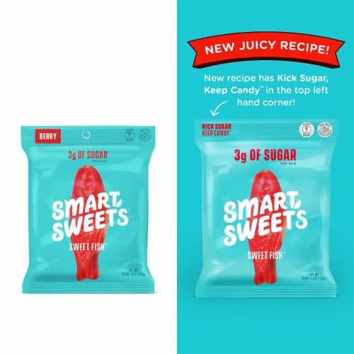 Smart Sweets Sweet Fish, Low Sugar Gummy Candy, Plant-Based, 1.8oz. (Pack of 4) Perspective: back