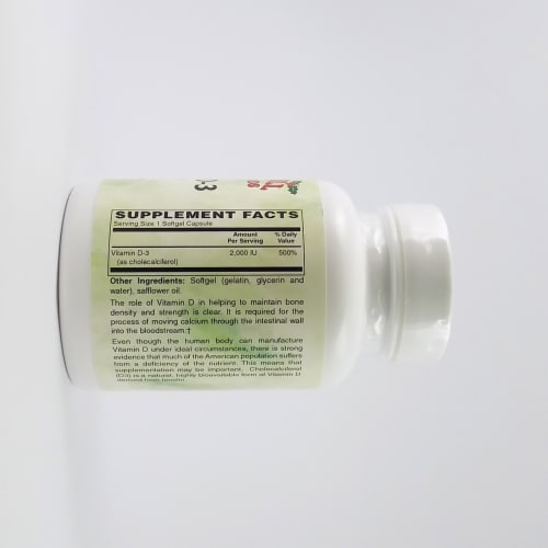 Holly Hill Health Foods, Vitamin D3 2000 IU, 100 Softgels Perspective: back