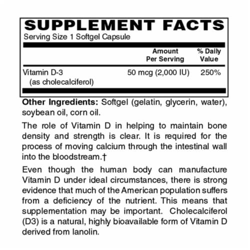 Holly Hill Health Foods Vitamin D3, 2000 IU, 250 Softgels Perspective: back