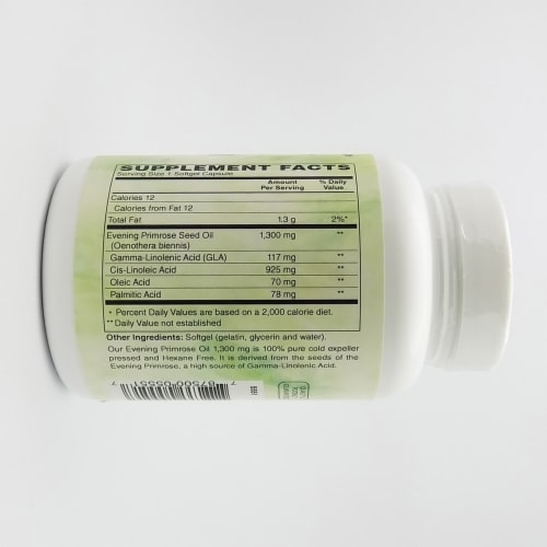 Holly Hill Health Foods, Evening Primrose Oil 1300 MG, Hexane Free, 60 Softgels Perspective: back