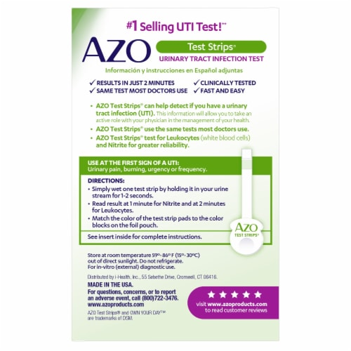 Azo Urinary Tract Infection Test Strips Perspective: back