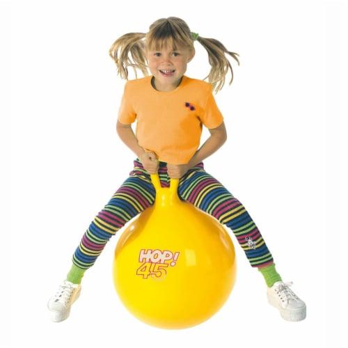 "Gymnic Children's Bouncing Hop 45 Ball Yellow 18"" diameter Perspective: back"