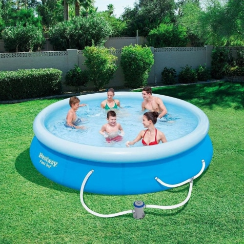 Bestway Fast Set Up 12ft x 30in Inflatable Above Ground Swimming Pool w/  Pump Perspective: back