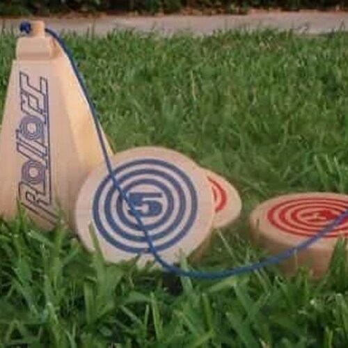 Rollors Outdoor All Wood Game Combining Bocce, Horseshoes and Bowling Perspective: back
