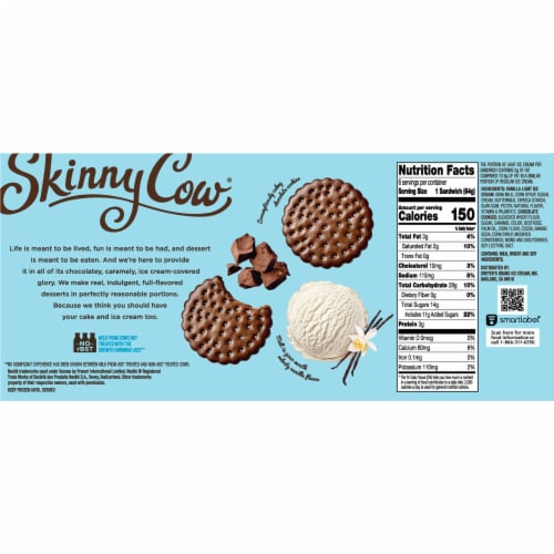 Skinny Cow Vanilla Gone Wild Low Fat Ice Cream Sandwiches Perspective: back
