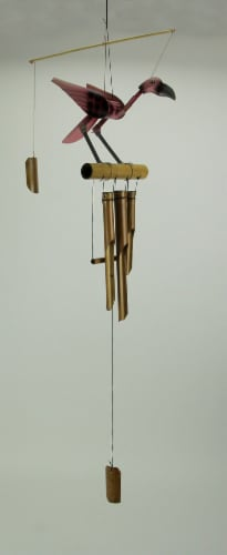 Hand Carved Wood and Bamboo Bobbing Head Pink Flamingo  Wind Chime Perspective: back