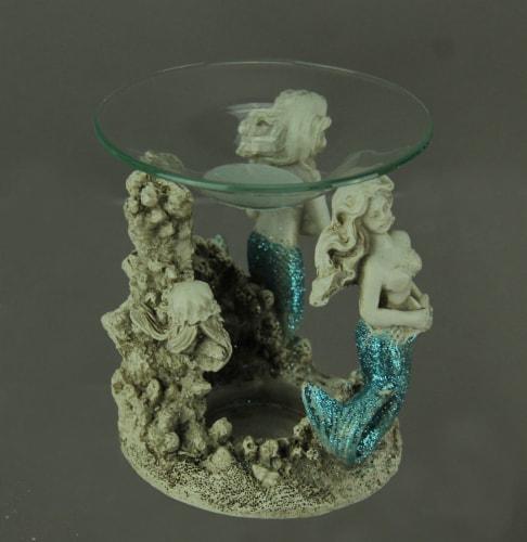Blue Glitter Tail Mermaids Tealight Oil Warmer Perspective: back