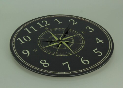 Black and White Compass Rose Round Wall Clock Perspective: back