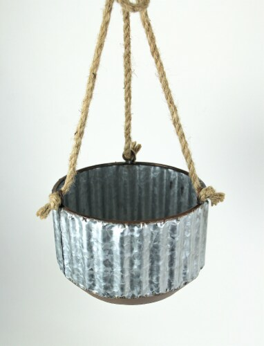 Farmhouse Style Corrugated Galvanized Metal and Rope Hanging Planters Set of 2 Perspective: back