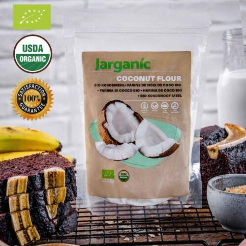 Organic Coconut Flour 1 lb / 16 Ounce - Keto Paleo Vegan, Low Carb, Certified Organic Perspective: back
