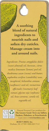 Burt's Bees Lemon Butter Cuticle Cream Perspective: back