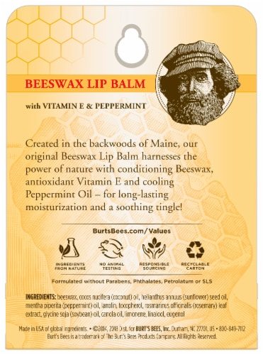 Burt's Bees Beeswax Lip Balm Perspective: back